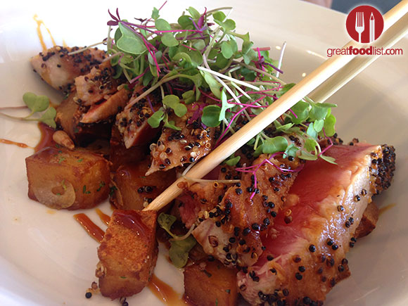 Tuna Papaki, Ahi tuna, quinoa crust, roasted potatoes. -- Photo by Greatfoodlist