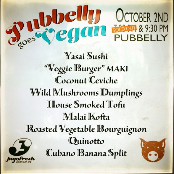 pubbelly goes vegan