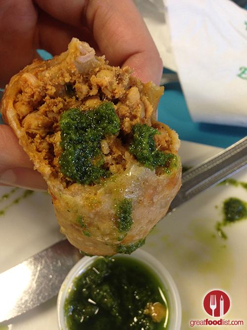 Chicken Empanada, the green sauce is amazing!