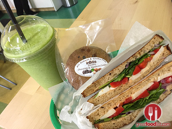 Veggie Sandwhich with Almond Cheese, with Juice (Kale, Apples, Cucumbers)